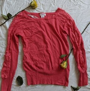 Candie's Lace Sleeve Sweater